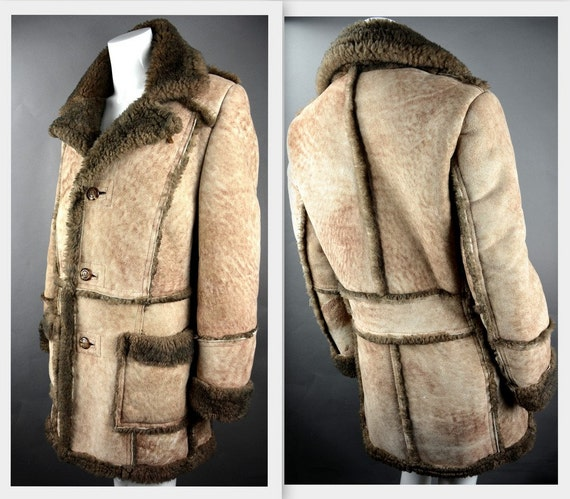 Mens 70s Canadian Sheepskin Shearling Suede Leather Coat