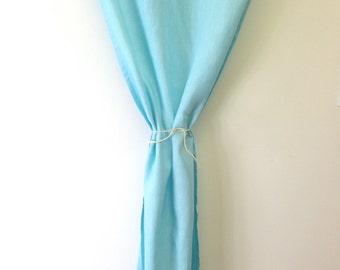 Aqua blue 100 linen curtain /drapes