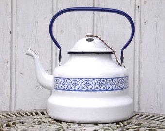 Vintage Enamel Tea Pot - Shabby Chic Kitchen Decor - Farmhouse Decor - Country Cottage Chic