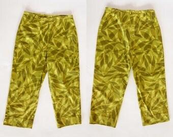 1990s green leaf pants, cotton high waist capri pants, large