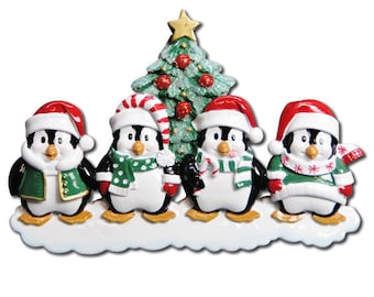 FREE SHIPPING 4 Happy Christmas Penguins personalized Christmas ornament / Family Christmas / Penguin Family ornament/ 4 Penguin ornament