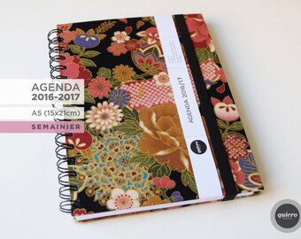 Agenda A5-2016 2017 - Japanese flowers and black-15x21cm