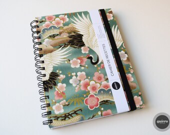 Book of recipes - Japanese - crane green fabric