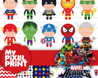 Cute Superhero Digital Clipart, Batman, Superman, Ironman, Captain America, Spiderman, Flash, Thor, Hulk PNG Marvel Super Hero