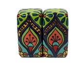 """Set of Two Teal, Salmon, Green & Cobalt Blue Talavera Style Salt and Pepper Shakers -- """"Peacock Party"""""""
