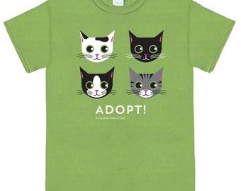 ADOPT Cat T-Shirt on Kiwi Green Unisex Cat Tee Shirt