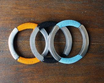 African Made Aluminium + Bead Bangle