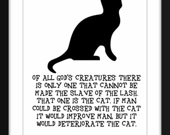 Mark Twain Cat Quote Art Print, A3/A4 Typography Art for Cat Lovers