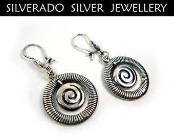 Greek Earrings, Spiral Earrings, Meander Earrings, Sterling Silver 925,Dangle Earrings, Greek Spiral Earrings, Greek Jewelry, Round Earrings