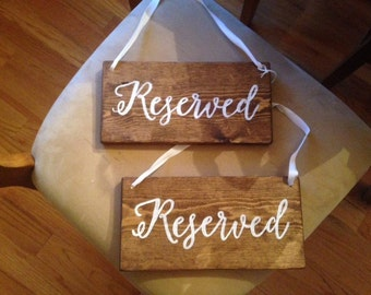 """Set of 2 """"Reserved"""" Rustic Wood Chair Signs for Wedding or Reception Hanging"""