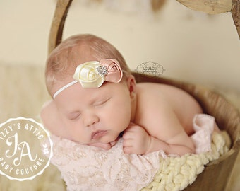 Baby headband, pink headband, infant headband, flower headband, pink and cream, rhinestone headband, rose headband, infant flower headband,