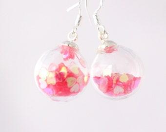 Romantic heart earrings, glittery sparkly earrings, evening dangle earrings, heart jewelry