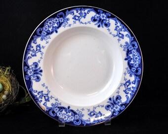 Flow Blue Bowl, Royal Daulton,  Audley, Blue and White china, English Vintage Bowl #1954