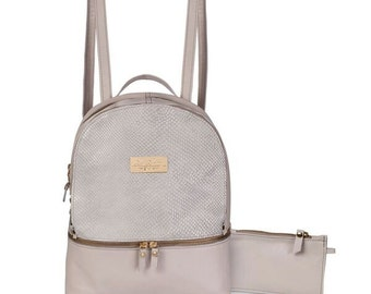 Leather backpack, everyday bag, white leather bag, backpack for women