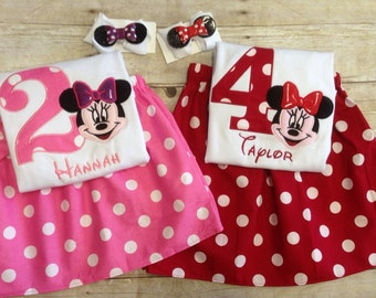 Minnie Mouse Birthday Outfit with Matching Hair clip/ Disney Birthday Outfit/ Minnie Mouse Skirt set/ Minnie Mouse Shirt