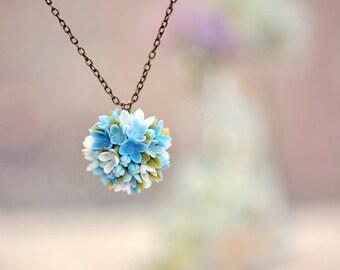 blue hydrangea necklace ,polymer clay handmade