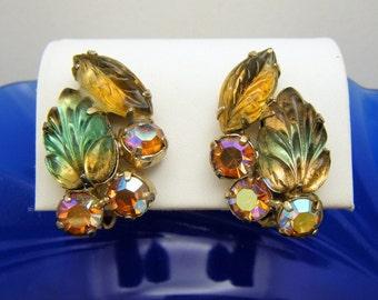 Gorgeous Vintage Glass Leaf AB Rhinestone Clip On Earrings