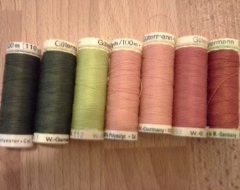 Gutermann sewing thread lot 7 spools of assorted colors 100% polyester thread