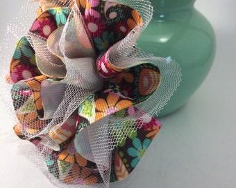 Fabric flower hair bow-ribbon flower-tulle flower hair bow-ribbon tulle-fabric ribbon flower-baby fabric flower-childs fabric hair bow
