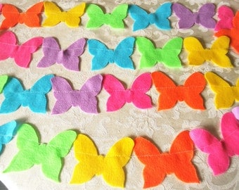 Bright Rainbow Felt Butterfly Garland