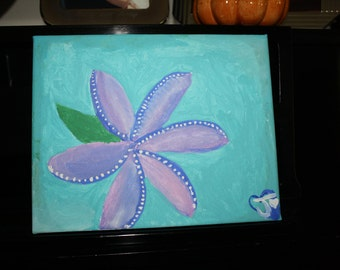 Hand painted canvas 8 inches by 10 inches with turquoise, purple, and green tones