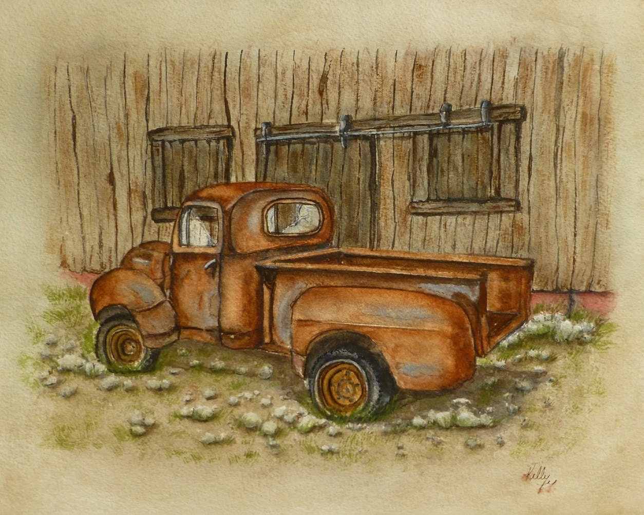 Vintage Rusty Old Ford Pickup Truck by kellymillspaintings ...
