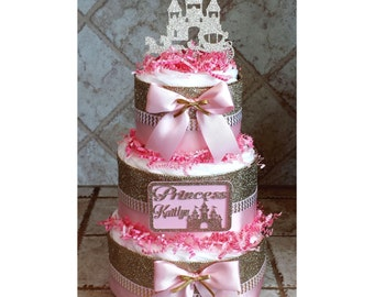 Personalized Glitter Gold & Pink Princess Castle Diaper Cake for Baby Shower Centerpiece or Gift for Baby Girl