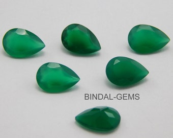 10 Pieces Wholesale Lot Amazing Green Onyx Pear Shape Faceted Cut Gemstone For Jewelry