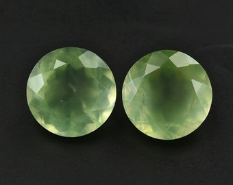 25 Pieces Lot Natural Prehnite Round Shape Faceted Cut Loose Gemstone