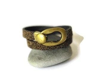 Brown leather bracelet, double wrap leather bracelet, caviar leather, handmade, brown bracelet, leather jewelry, gypsy jewelry