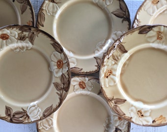 6 Vintage Franciscan ware Cafe Royal dishes, Franciscan SALAD / dessert plates, vintage fall floral plates serving plates, 1980's dishes