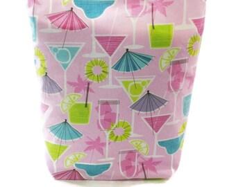 Fun pink Martini glasses tote bag. Women gift idea under 25. READY TO SHIP!
