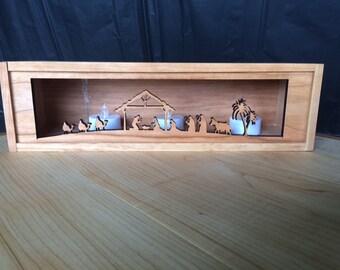 Rustic Nativity Box - Recycled Wine Box