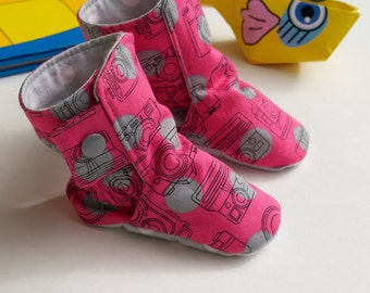 Pop Art Baby Boots / Spring Toddler Boots / Baby Booties / Crib Shoes /Soft Soled Baby Shoes / Leather Baby Shoes / New Baby / Baby Gift