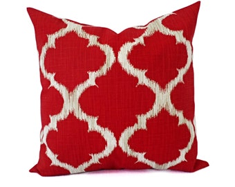 Deep Red Pillow Covers - Red and Grey Throw Pillows - Pillow Cover - Red Couch Pillow - Decorative Pillow Covers - Quatrefoil Pillow Cover