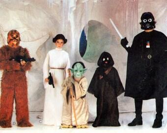 McCalls 7772 - Star Wars Costume Pattern,   Childrens Size Large - Darth Vadar Costume, Yoda Costume, Jawa Chewbacca Princess Leia Costumes
