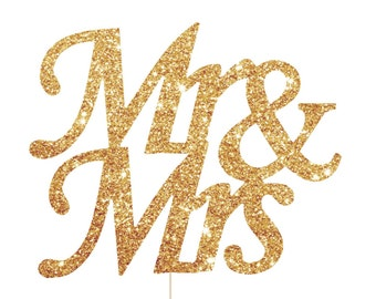 Couples Shower Decorations, Mr and Mrs Cake Topper, Glitter Gold Couples Wedding Shower, Engagement Party Cake Topper