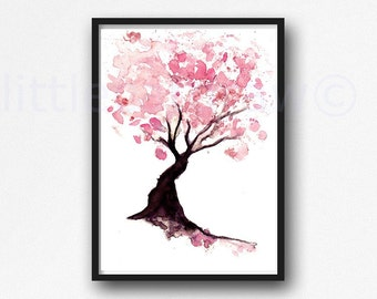Cherry Blossom Print Tree Watercolor Painting Print Pink Wall Art Tree Print Watercolour Blossom Pink Home Decor Living Room Decor