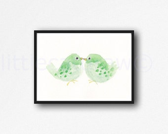 Green Birds Kissing Watercolor Painting Print Bird Nursery Art Soft Green Wall Art Unframed