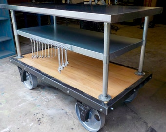 Custom Build Oak, Iron and Stainless Steel Tool Cart