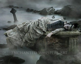 Art print of Gothic Victorian woman in Graveyard | Dark fantasy art by Enchanted whispers | Gliclee print sizes 5x7 8x10 11x14 16x20