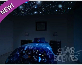 Reusable Realistic Glow Stars , 250x Glow in the Dark Star Ceiling Decals for Bedroom + College Dorm Decor. Removable-Ideal Gift for Renters