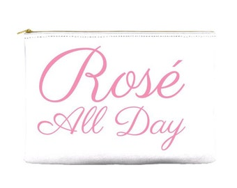 Rosé all day pouch — perfect brunch bag, cosmetic pouch, makeup bag