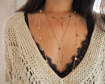 14k Gold Body Chain with Garnet Stone