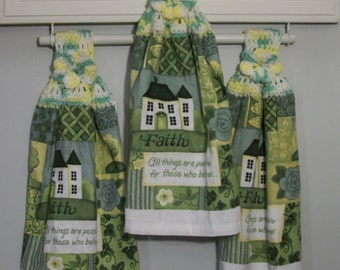 Home Faith All Things Are Possible For Those Who Believe - Yellow Lime Crochet Top Hanging Dishtowel *Button/No Button* Handmade by HCF&D