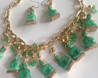 Fabulous Fabulous Buddha Faux Jade Green Glass Charm Pendant Necklace Earring Set Demi Parure