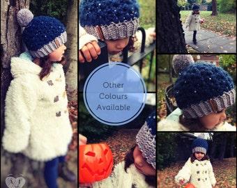 Crochet merino pom pom hat - sequin pompom hat - crochet pompom hat - winter hat