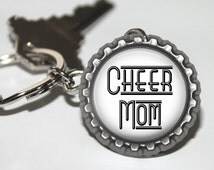 Cheer Mom Flattened Bottlecap Key Chain, Cheerleading, Gift for Cheer Mom, Gift for Cheer Coach, Cheerleader Gift, Cheer Mom, Cheer Gifts