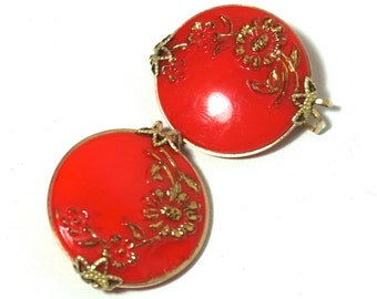 Vintage Castlecraft/Hillcraft Earrings,Red Earrings,Glass & 10k GF Earrings,Slide-on Earrings,Button Earring,Collectible Costume Jewelry
