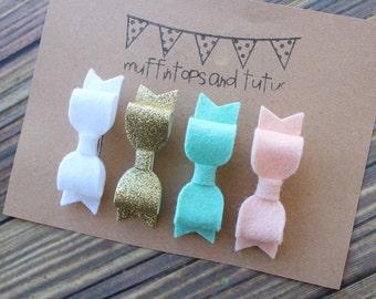 Felt hair clips- baby, toddler, girls hair clips - felt flower hair clip - felt bow hair clip - Coral, mint, peach and gold